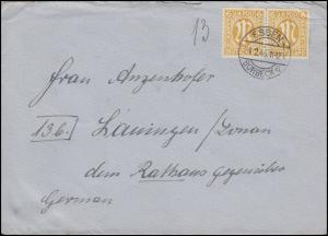 AM-Post 2x 6 Pf. MeF Fern-Brief ESSEN-BORBECK a - 24.2.46 nach Lauingen/Donau