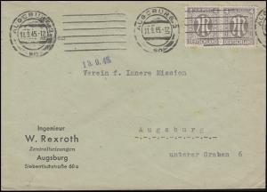 AM-Post 2x 4 Pf. MeF Orts-Brief AUGSBRUG 2 an - 11.9.45 an Verein Innere Mission
