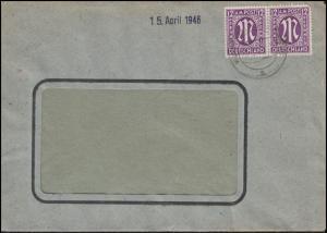 AM-Post 2x 12 Pf. MeF Fensterbrief WUPPERTAL-CRONENBERG a - 10.4.46