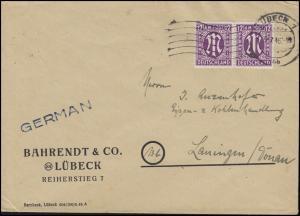 AM-Post 2x 12 Pf. MeF Fern-Brief LÜBECK 1 bb - 9.7.46 nach Lauingen