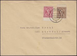 AM-Post 10+15 Pf MiF Fern-Brief von ITZEHOE 24.5.46 nach Stendal / Altmark