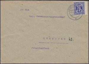 AM-Post 25 Pf. EF Fernbrief LAUF (PEGNITZ) 5.6.46 an Versicherungskammer München