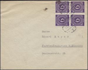 916 Ziffer 4x 6 Pf. MeF Fern-Brief von PASSAU 9.6.47 nach Fürstenfeldbruck