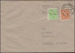 AM-Post 5+8 Pf. Fern-Brief Eisenwaren Heller FÜRTH 2 c - 3.12.45 nach Sonthofen