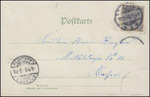 52 Ziffer 2 Pf. EF Gruß-Karte Landschaft als Orts-Postkarte AACHEN 8.9.00