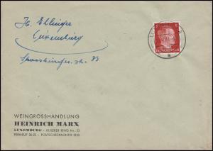Freimarke Hitler 8 Pf als EF auf Ortsbrief Weingroßhandel Marx LUXEMBURG 29.4.44