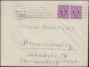 AM-Post 12 Pf. MeF Paar auf Brief HAMBURG 8.4.46 nach Braunschweig