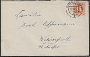 AM-Post 8 Pf. als EF auf Orts-Brief / Trauerbrief WIPPERFÜRTH 18.10.45