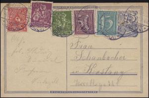 Postkarte P 146I Postreiter mit Zusatzfrankatur REICHENAU 5.12.22 nach Konstanz