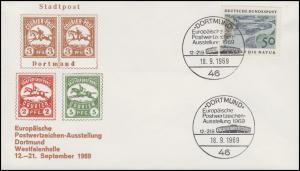 Schmuck-Brief Briefmarkenausstellung DORTMUND 1969, Bund 594 SSt 18.9.1969