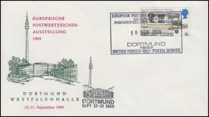 Schmuck-Brief Briefmarkenausstellung DORTMUND 1969, England 511 SSt 18.9.1969