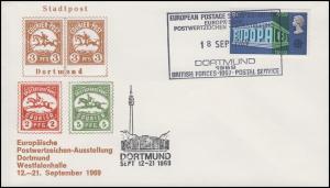 Schmuck-Brief Briefmarkenausstellung DORTMUND 1969, England 512 SSt 18.9.1969