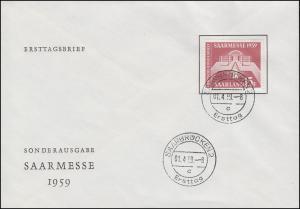 447 Saarmesse 1959 auf Schmuck-FDC SAARBRÜCKEN Ersttag 1.4.59