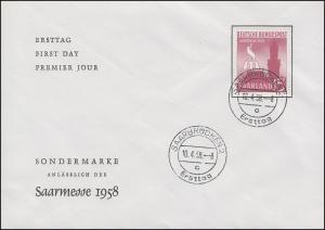435 Saarmesse 1958 auf Schmuck-FDC Saarbrücken Ersttag 10.4.58