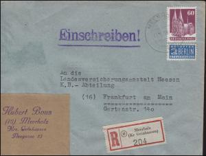 93 eg Bauten 60 Pf mit Notopfer EF R-Brief MEERHOLZ 17.6.50 nach Franfurt/Main