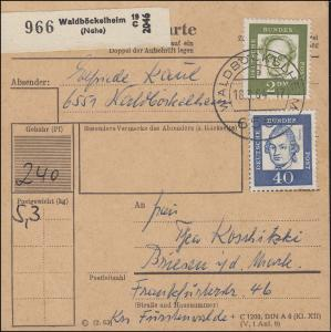 355y+362y Lessing+Hauptmann MiF Paketkarte WALDBÖCKELHEIM 18.3.64 n. Briesen/DDR