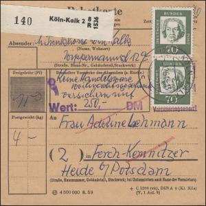 358ya Beethoven + ZF auf Paketkarte KÖLN-KALK 3.12.61 nach Ferch-Kemnitzer / DDR