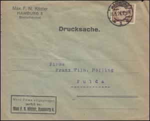 338Pa Korbdeckel-Muster 3 Pf als EF auf Drucksache HAMBURG 15.5.24 nach Fulda