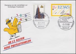 Schmuck-Umschlag Neue Postleitzahlen 1659 SSt Frankfurt/Main 30.6.93 / 1.7.93