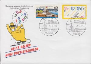 Schmuck-Umschlag Neue Postleitzahlen 1659 SSt Koblenz 30.6.93 / 1.7.93