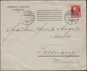 115A König Ludwig EF auf Brief Moritz Leiter AUGSBURG 21.8.1916 nach Tettnang