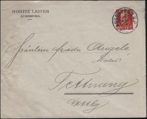 96Ia König Ludwig EF auf Brief Moritz Leiter AUGSBURG 19.5.1916 nach Tettnang