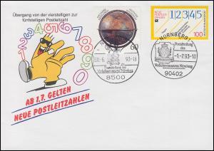 Schmuck-Umschlag Neue Postleitzahlen 1659 SSt Nürnberg 30.6.93 / 1.7.93