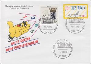 Schmuck-Umschlag Neue Postleitzahlen 1659 SSt BERLIN Postmuseum 30.6.93 / 1.7.93