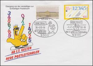 Schmuck-Umschlag Neue Postleitzahlen 1659 SSt BONN Rolf 30.6.93 / 1.7.93