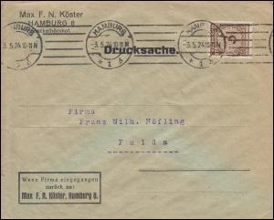 338Pa Korbdeckel-Muster 3 Pf als EF auf Drucksache HAMBURG 3.5.1924 nach Fulda