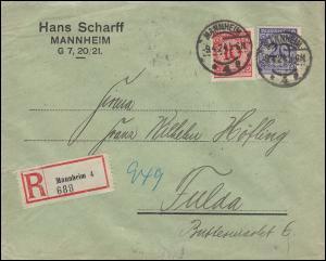 340Pa+341P Korbdeckel 10+20 Pf MiF R-Brief MANNHEIM 9.4.1924 nach FULDA 10.4.24
