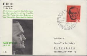 197 Hans Böckler auf Schmuck-FDC ESSt Berlin-Charlottenburg 16.2.1961