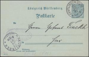 Dienstpostkarte DP 32/11 Ziffer 2 Pf. vom Amtsgericht REUTLINGEN STADT 20.7.1907