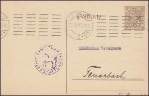 Dienstpostkarte DP 42Ib/13 Ziffer 3 Pf. DV 315, Arbeitsamt STUTTGART Mai 1916