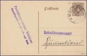 Dienstpostkarte DP 11Ib/13 Ziffer 3 Pf braun DV 1215, WALDSEE (WÜRTT.) 21.6.1916