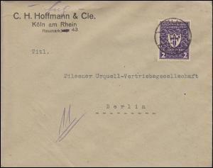 200 Gewerbeschau 2 Mark EF auf Brief KÖLN 16.5.22 nach Berlin