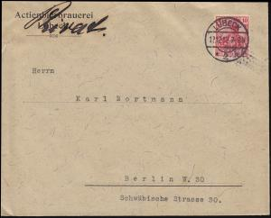 Germania 10 Pf EF Brief Aktienbierbrauerei LÜBECK 12.12.1912 nach Berlin