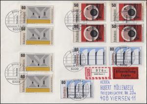 1164-1166 Bauhaus mit 11 Werten Großbrief Eil-R FDC ESSt BONN n. Viersen 9.2.83