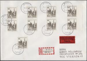 693 Telegraphenlinie Berlin-Coblenz 9mal MeF Eil-R-FDC Bonn 8.2.83 nach Viersen