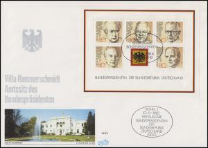 Block 18 Bundespräsidenten auf FIDACOS-FDC Villa Hammerschmidt ESSt Bonn