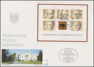 Block 18 Bundespräsidenten FIDACOS-Schmuck-FDC Villa Hammerschmidt ESSt Bonn