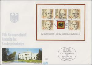 Block 18 Bundespräsidenten FIDACOS-Schmuck-FDC Villa Hammerschmidt mit ESSt Bonn