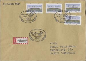 ATM 2.2.1. Sanssouci 50, 100, 2mal 200 R-Brief SSt Köln PHILATELIA UNO 22.10.95