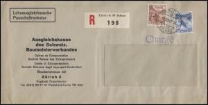 Schweiz 299+363 Landschaften Lohnausgleichssache Fenster-R-Bf. ZÜRICH 2.12.47