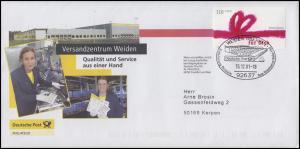 2223 Grußmarke Werbebrief Qualität und Service SSt WEIDEN 15.12.01 nach Kerpen