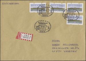 ATM 2.1.1. Sanssouci 4 Werte 50 und 200 Pf. R-Brief SSt Köln PHILATELIA 20.10.95