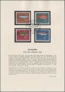 412-415 Für die Jugend - Fische, Satz auf Ersttagsblatt ESSt BONN 10.4.1964