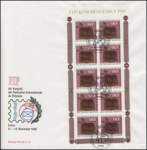 1065 Kleinbogen FIP-Kongreß 1980 Schmuck-FDC ESSt ESSEN Postreiter 13.11.80