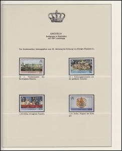 Anguilla Jubiläum Elizabeth II. Krönungsprozession & Wappen, 4 Marken **