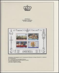 Anguilla Jubiläum Elizabeth II. Krönungsprozession & Wappen, Block **